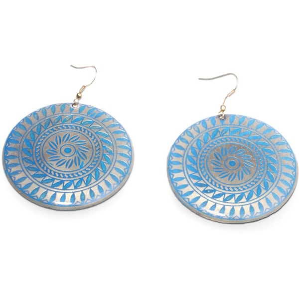 Chakra Blue Resin Disc Drop Earrings by Mela Artisans Engraved Earrings