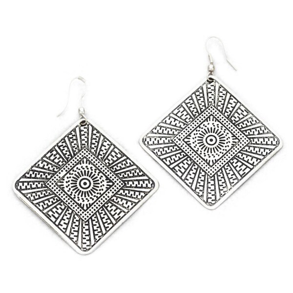 Sky Diamond Hand Carved Drop Earrings by Mela Artisans Engraved Earrings