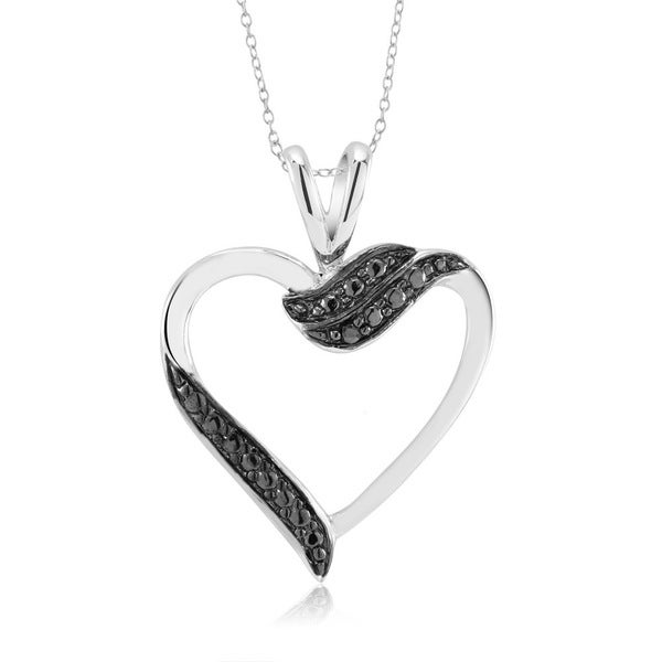 Rhodium-Plated 1/10ct Diamond Accent Open Heart Pendant Necklace