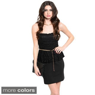Women's Strapless Floral Lace Peplum Dress With Chain Belt
