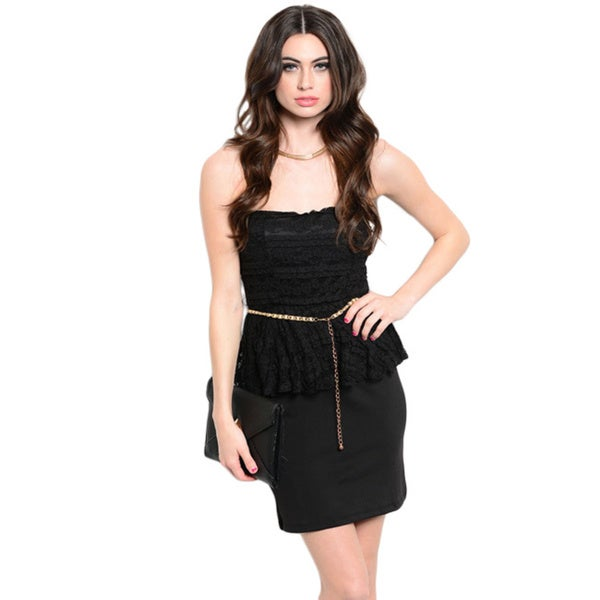 Shop The Trends Women's Strapless Floral Lace Peplum Dress With Chain Belt