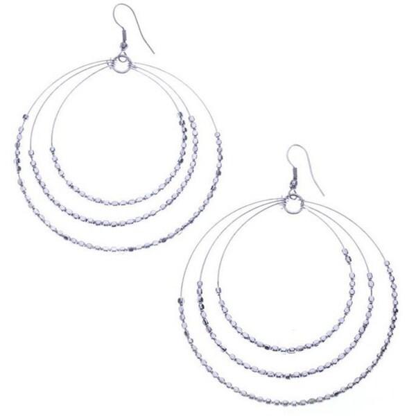 Silver Sparkle Beaded Hoop Earring by Mela Artisans Earrings