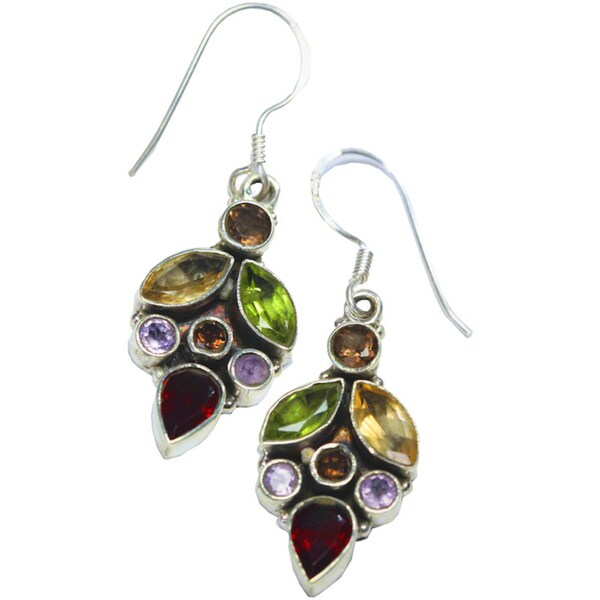 Festival of Light Earrings Semi-Precious Stones Set In Sterling Silver by Mela Artisans