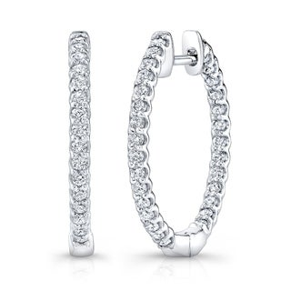 Platinum-Silver 1 CTW Diamond Hoop Earrings