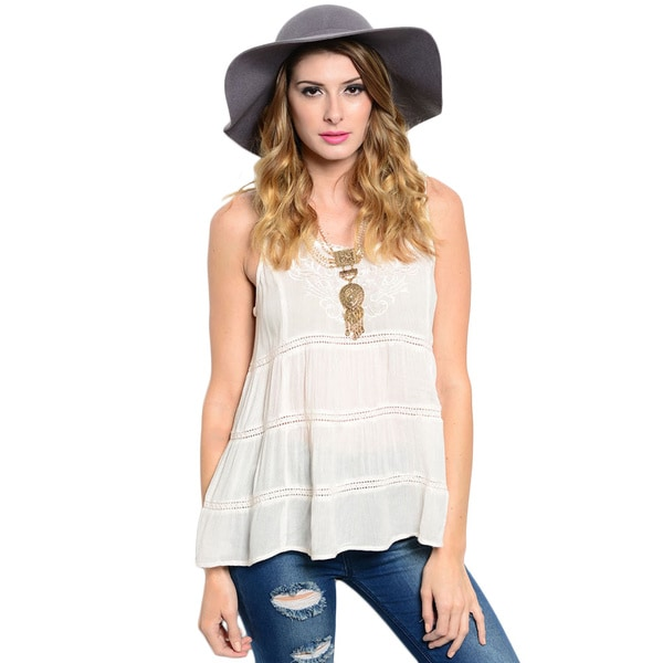 Shop The Trends Women's Sleeveless Trapeze Lightweight Top With Tiered Paneling And Flourished Embroidered Neck