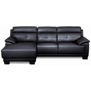 Victoria leather sectional sofa overstock shopping big for Odessa waffle suede reversible sectional sofa with ottoman