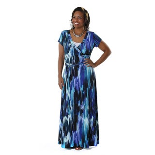 Hadari Women's Plus-Size Multi-colored Printed Maxi Dress