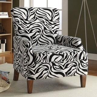 Cornelia Chenille Zebra Fabric Accent Chair
