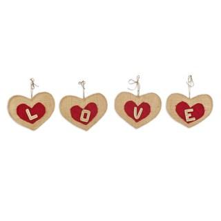 Burlap Love Heart Banner 8w x 6 l - 4 Pieces