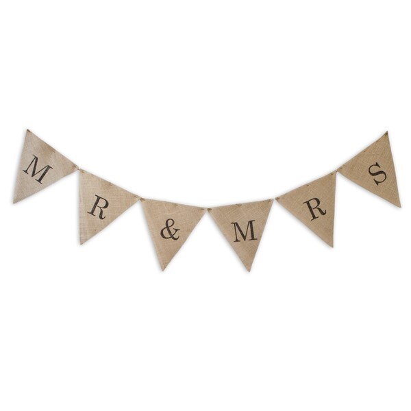 "Burlap ""Mr & Mrs "" Banner 12""w x 13"" l -6 Pieces"