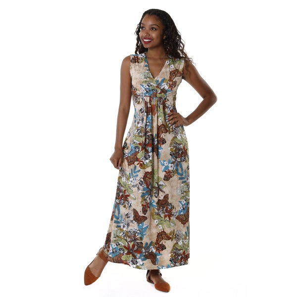 Hadari Women's Floral V-Neck Sleeveless Maxi Dress