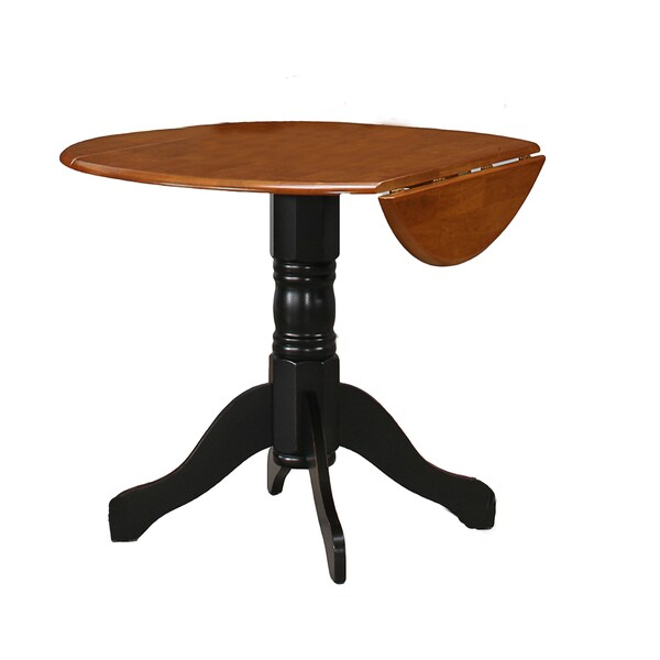 Black mahogany round drop leaf table overstock shopping for Black round table with leaf
