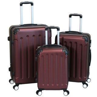 World Traveler Burgundy Madison 3-piece Hardside Spinner Luggage Set With Combination Lock