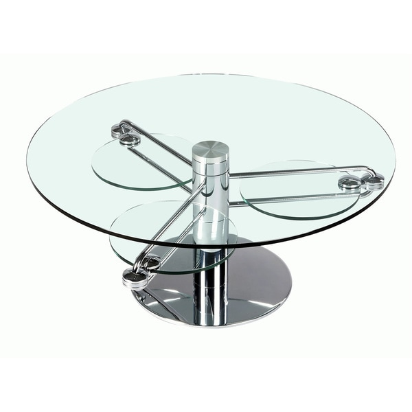 Somette Round Clear Glass Motion Cocktail Table