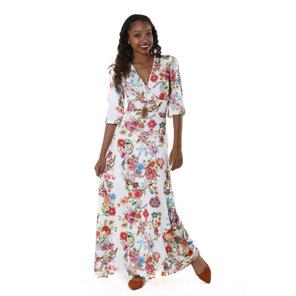 Hadari Women's White Floral V-Neck Maxi Dress