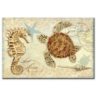 "Counterart Glass Cutting Board - Seahorse and Sea Turtle - 8""x12"""