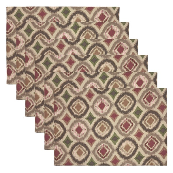 Ikat Multi-Colored Geometric Placemats (Set of 6)