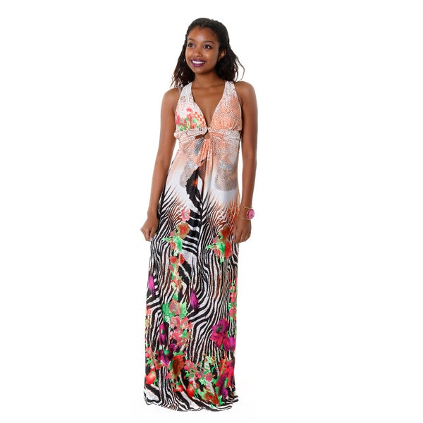 Hadari Women's Multi-Colored Halter Maxi Dress