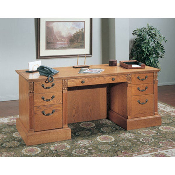 OS7230 Double Pedestal Desk Oak