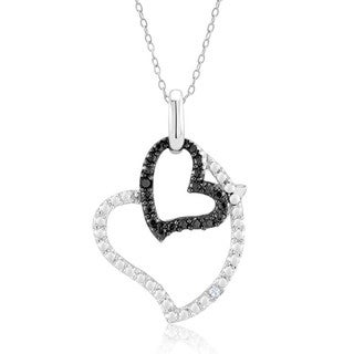 Rhodium and Black IP Plated .10ct Diamond Accent Double Open Heart Pendant Necklace