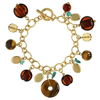 Alexa Starr Gold over Silver Tiger's Eye and Turquoise Donut Cluster Toggle Bracelet