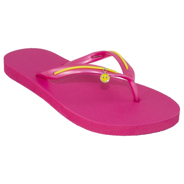 MADiL 'Smiles' Pink/ Yellow Personalized Flip Flops