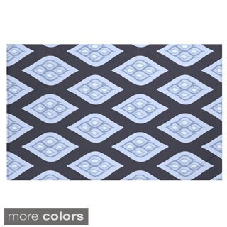 Geometric Print Navy Blue and Blue/ Teal and Aqua/ Green/ Dark Grey and Grey/ Purple 60 x 80-inch Throw Blanket