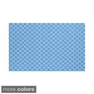 Geometric Print Blue/ Leaf Green/ Flax 60 x 80-inch Throw Blanket