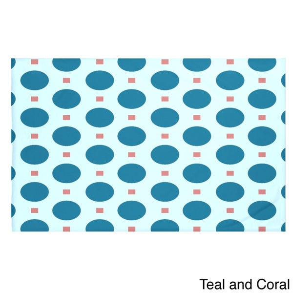 Geometric Print Teal Coral/ Light Blue Jade/ Green Teal/ Coral Aqua/ Purple Green Throw Blanket