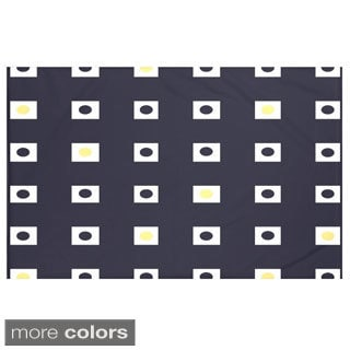 Geometric Print Navy Blue and Yellow/ Green and Blue/ Taupe and Red 60 x 80-inch Throw Blanket
