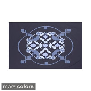 Geometric Print Navy Blue/ Teal and Aqua/ Green/ Light Grey and Dark Grey/ Off White and Brown 60 x 80-inch Throw Blanket
