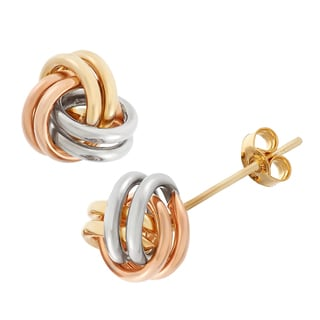 14k Tri-color Love Knot Stud Earrings