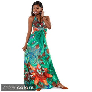 Hadari Women's Multicolored Floral Halter V-neck Maxi Dress