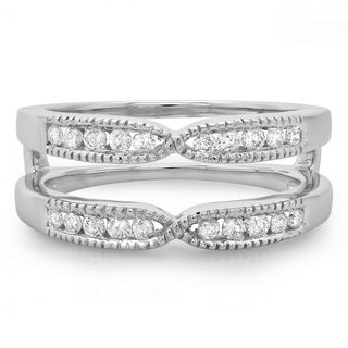 0.35 Carat (ctw) 14K White Gold Round Cut Diamond Ladies Millgrain Anniversary Wedding Band Guard Double Ring 1/3 CT
