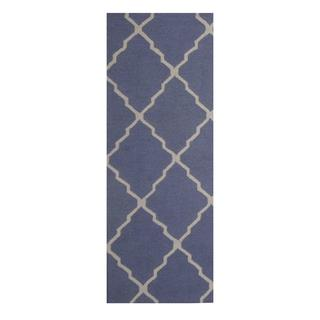 Herat Oriental Indo Hand-tufted Contemporary Blue/ Ivory Wool Rug (2'6 x 7')