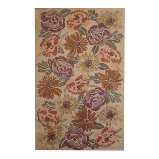 Herat Oriental Indo Hand-tufted Contemporary Design Ivory/ Brown Wool Rug (5' x 8')