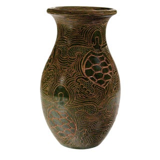 Pottery - Turtles etched in floreo vase