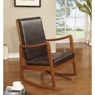 Nyle Dark Brown PU and Oak Rocking Chair