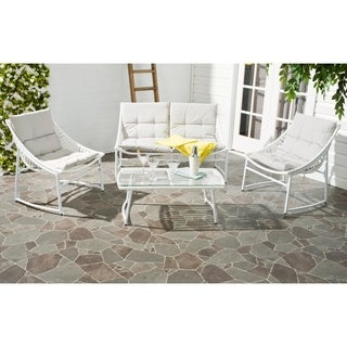 Safavieh Berkane White Rattan and Grey Fabric 4-piece Outdoor Set