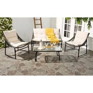 Safavieh Berkane Brown Rattan and Beige Fabric 4-piece Outdoor Set