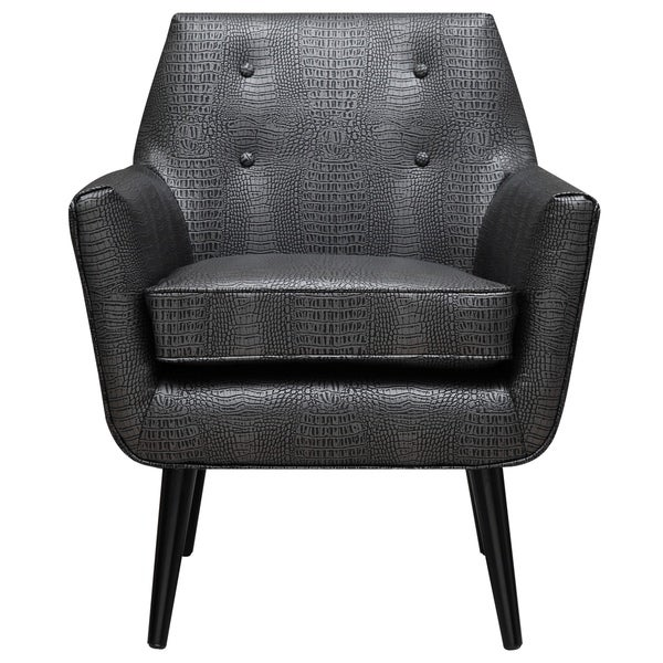 Croc Graphite Metallic Leather Chair