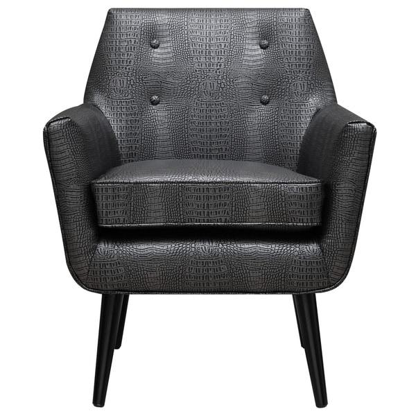 Croc Graphite Metallic Leather Chair