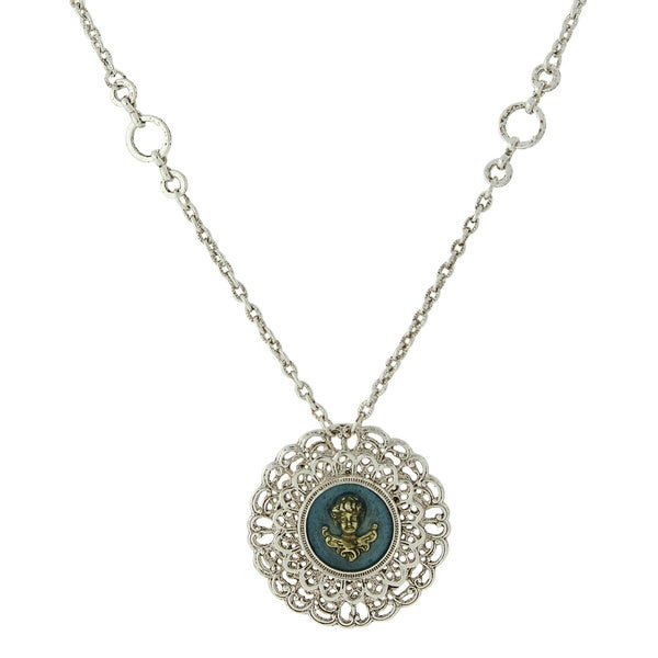 The Vatican Library Collection Silvertone Blue Round Filigree Angel Necklace