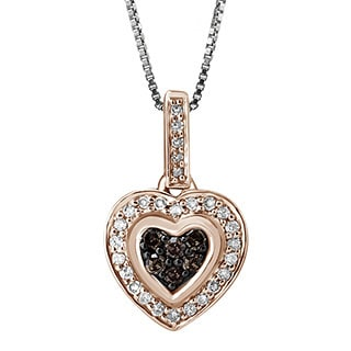 Sterling Silver 1/4ct TDW Brown and White Diamond Heart Shaped Pendant (H-I, I2-I3)
