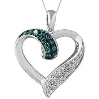 Sterling Silver 2/5ct TDW Diamond Heart Shaped Pendant (H-I, I2-I3)