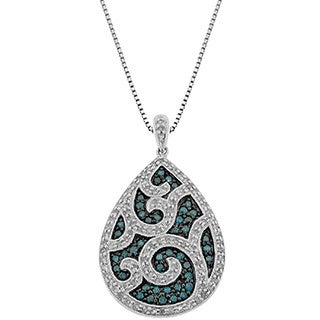 Sterling Silver 1ct TDW Blue and White Diamond Pendant (H-I, I2-I3)