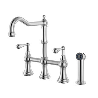 Geyser Brushed Satin Stainless Steel Commercial-grade Bridge Kitchen Faucet with Pull-out Side Sprayer