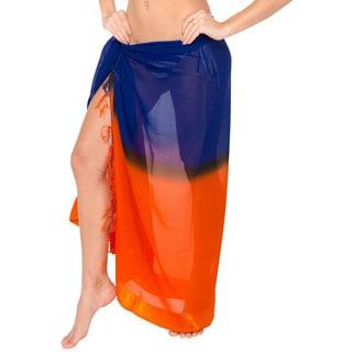 Blue/ Orange Gradient Jacquard Border Swim Sarong