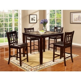 5-piece Espresso/ Faux Marble Table and Chairs Set