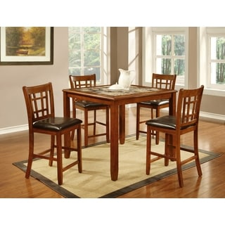 5-piece Oak/ Faux Marble Inlay Table and Chairs Set